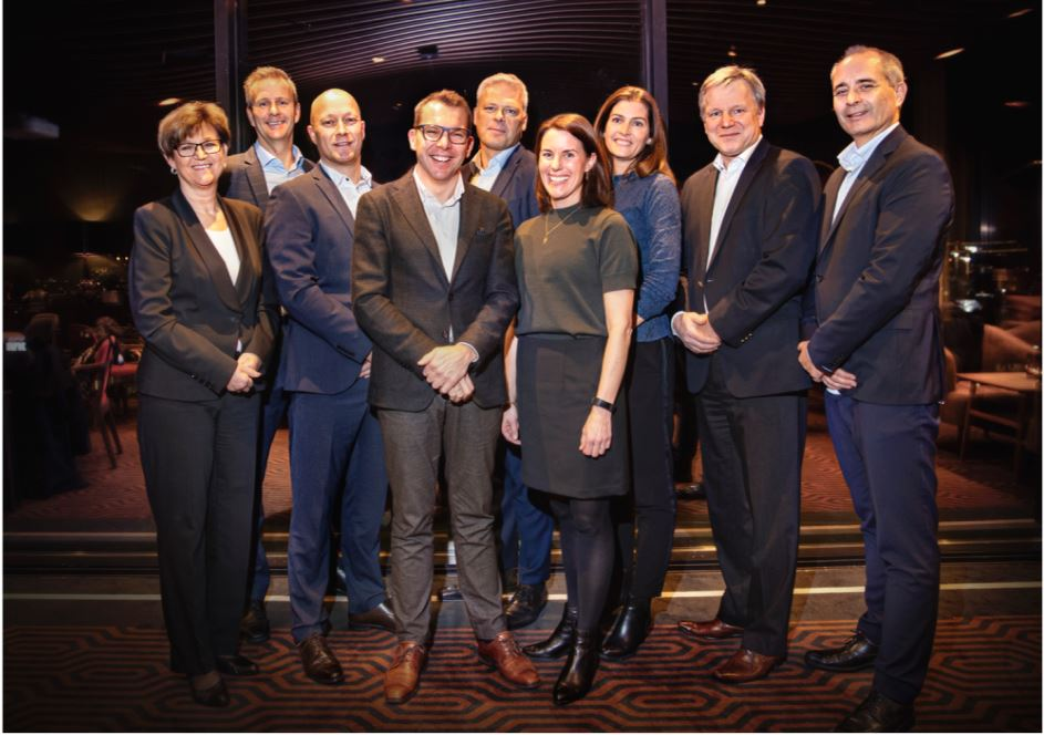 This is Agder Energi's new group management team (from left): CFO and Deputy CEO, Pernille Kring Gulowsen; Business Area Director for Energy Management & Trading, Anders Gaudestad; Business Area Director for Distribution, Jan Erik Eldor; CEO Steffen Syvertsen; Business Area Director for Customer, Atle Knudsen; Chief HR and Communication Officer, Kristin A. Dale; Chief Technology Officer, Ingvill H. Mykland; Business Area Director for Production, Jan Tore Tønnessen; Business Area Director for Innovation, Svein Are Folgerø.